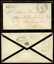 BAHAMAS 1872 MOURNING ENVELOPE NY STEAMSHIP to CINCINNATI...FERN FLAP