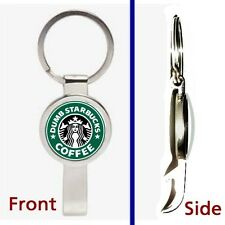 Dumb Starbucks Coffee Pennant or Keychain silver tone secret bottle opener