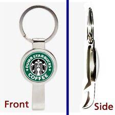 Dumb Starbucks Coffee Pennant or Keychain silver tone secret bottle opener