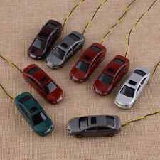 For Building Train Layout Toys 8Pcs Model Car with LEDs 1:100 TT Scale Lighted