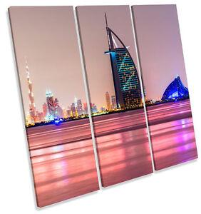 Dubai Skyline TREBLE CANVAS WALL ART Square Picture Print