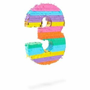 Small Rainbow Pinata Number 3 for Kids 3rd Birthday Party (11.4 x 16.5 x 3 In)