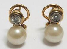 18k Gold Pearl and Diamond Earrings