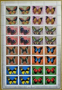 O456. Ajman - MNH - Insects - Butterflies - Various - Full Sheet