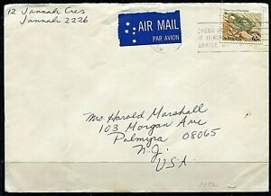 Australia 1982 65c Yellow Faced Whip Snake cover to USA