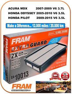 FRAM CA10013 Extra Guard AIR FILTER Fit V6 HONDA Odyssey Pilot ACURA MDX