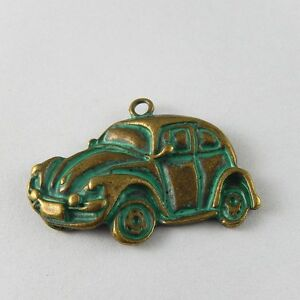10pcs Vintage Bronze Patina Color Alloy Green Car Charms Pendant Jewellery Gift