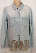 Rails Shirt Blue Denim Fringe Stripe X-Sm New $198