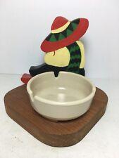 "Handcrafted Wood Ashtray Sombrero Siesta 5"" Home Southwest Decor Barware"