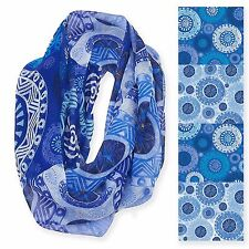 Laurel Burch 100% Poly Rayon Infiniti Neck Scarf Blue Circle Floral Design New