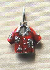 New BRIGHTON Hawaiian Aloha Shirt red enamel and silver charm  FREE SHIPPING !!