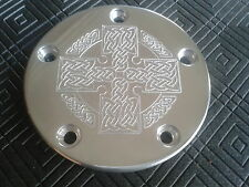 CNC SMALL CELTIC KNOT CROSS IGNITION TIMER COVER HARLEY DAVIDSON TWIN CAM 5 HOLE