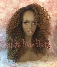 100% Human Hair Blend Curly Deep Realistic Part Lace Front Wig