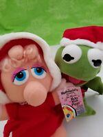 Cute VTG NEW 1988 McDonald's Muppet Babies Kermit Miss Piggy Christmas (Unused)