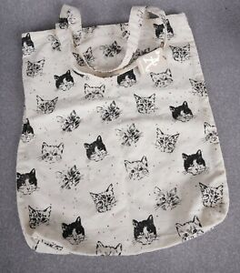 NEW Cat Lover 100% Cotton Lightweight Small Tote Bag Ivory & Black
