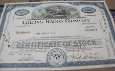 Collins Radio Co. 1966 OLD CANCELED stock CERTIFICATE
