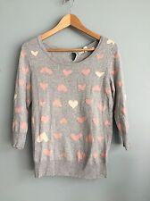 LC Lauren Conrad women's small heart sweater bows Valentine's Day gray pink