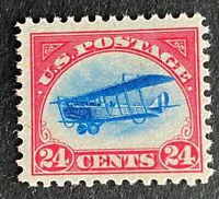 US Stamp, Scott C3 1918 Curtiss Jenny airmail 24c F/VF M/NH. Fresh