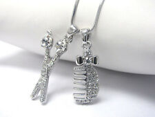NEW HAIR STYLIST CRYSTAL SCISSORS & COMB CHARM NECKLACE