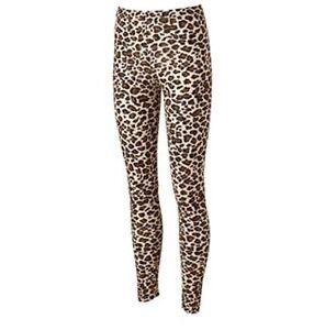 JERRY LEIGH Juniors Cheetah Leggings Fashion Pants in Tan/Brown/Black Size S NWT