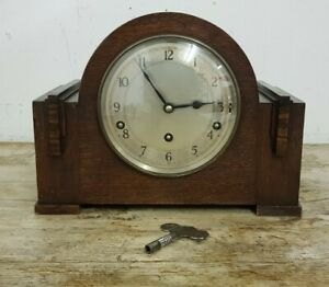 Vintage GARRARD Art Deco Westminster Chiming Wooden Mantel Clock with Key