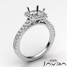 Halo Prong Set Diamond Engagement 0.5Ct Princess Semi Mount Ring 14k White Gold