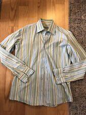Bamboo Medium Button Down Shirt Stripe Green Yellow White Blue Long Sleeve