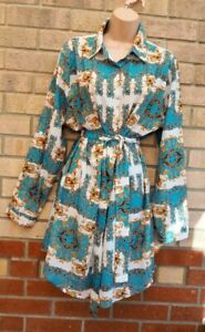 TENKI GREEN WHITE GOLD BAROQUE PAISLEY BUTTONED T SHIRT SMOCK BELTED DRESS 14
