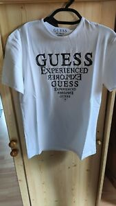 T shirt guess homme manches courtes M14I04 blanc taille L neuf