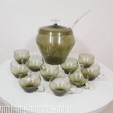 edle Glas Bowle für 10 Personen 13 tlg. Turmalin 4,5 Liter Wagenfeld Ära 60er J.