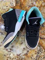 2014 Nike Air Jordan 3 Retro GG Black Iron Purple Sz 6.5Y (0880) 441140-045
