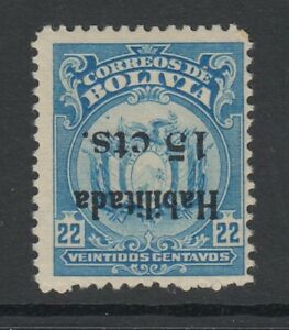 Bolivia, Scott 140a, MHR, Inverted Surcharge