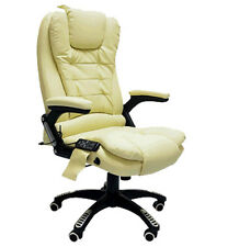 Cream Leather Office Massage Swivel Chair Release Tension Back Bottom Thighs