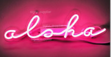 New Aloha Pink Neon Sign Acrylic Gift Light Lamp Bar Wall 14""