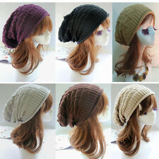 black Men Women's Knit Baggy Beanie Oversize Winter Hat Chic Cap Skull