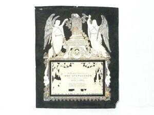 "Victorian 1863 Jane Stephenson Funeral Memoriam Pierced Decorative Card 7.5""x6"""
