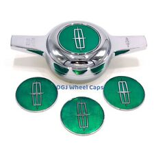 Lincoln Candy Green on Chrome Lowrider Wire Wheel Metal Chips Emblems Size 2.25