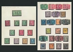 US STAMPS 1914-1916 WASHINGTON COIL STAMPS MINT OG TO 5c & ROTARY USED TO $1