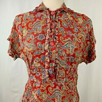 Vintage 50s Secretary Day Shirt Dress S Red Paisley Button Front Ruffles