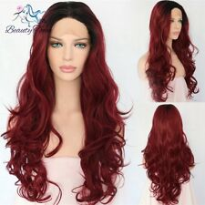 Synthetic Lace Front Wigs Wine Red Color Natural Wavy Fiber Hair Cosplay Wigs