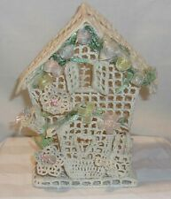 Vintage Hand Made Crocheted House Ornament Figurine With Flower & Watering Can
