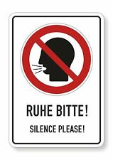 1 Aufkleber RUHE BITTE, SILENCE PLEASE  21 x 30 cm