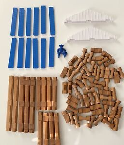 LINCOLN LOGS Lot of 88 Wood Parts & Blue Plastic Pieces Cowboy Blocks Loose KNEX