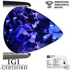 1.56 Ct IGI Certified AA Natural D Block Tanzanite Blue Violet Color Pear Cut