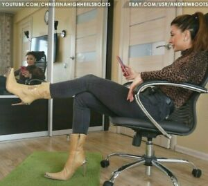 GIANMARCO LORENZI EU37 US7 pointed toe high heels western booties pony fur VIDEO