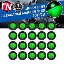 """20 Pcs3 LED Mini Bullet Round 3/4"""" Green Light 12V Side Marker Truck RV Trailer"""