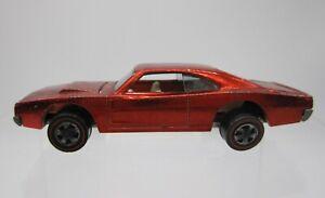Vtg 1968 Hot Wheels Redline Red Custom Dodge Charger Car Loose Original - USA