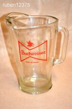 Vtg Budweiser Anheuser Busch Heavy Glass Pitcher, Bowtie Logo, King of Beers