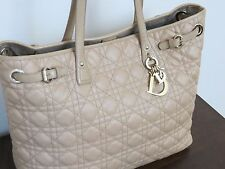 Christian Dior Beige Cannage Quilted Canvas Medium Panarea Tote Bag AUTHENTIC