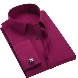 Mens Long Sleeve Shirts Luxury Slim Fit Formal Dress French Cuff Cufflinks Shirt